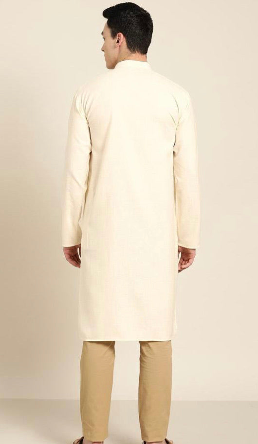 Cotton Cream Solid Kurta Top