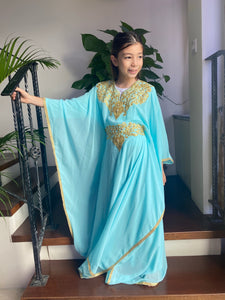 Kids Neelofa Kaftan - Tiffany, Gold Embroidery