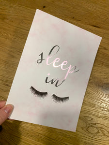 A5 pink marble silver foil sleep in
