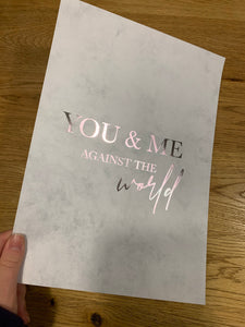 A4 grey marble silver foil you and me