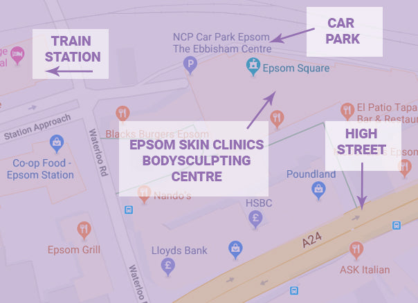 A Map detailing how to get to the bodysculpting event