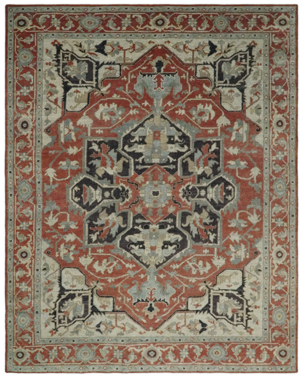 Hand Knotted Antique 8x10 Rust and Beige Traditional Persian Area Rug | TRD2375