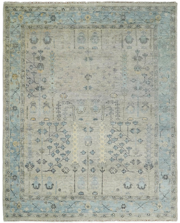 100% Wool Hand Knotted 8x10 Traditional Beige and Blue Wool Area Rug | TRDCP86810 - The Rug Decor