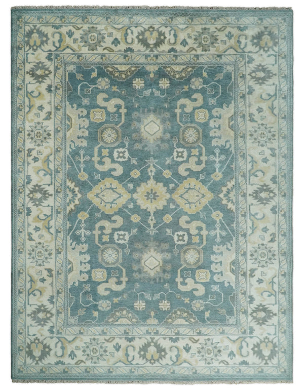 Handmade 9x12 Traditional Persian Blue and Ivory Area Rug | TRDCP106912
