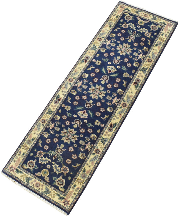 2.6x8 Blue and Beige Fine Runner Hand Knotted Area Rug | Floral Design Made with Fine Wool - The Rug Decor