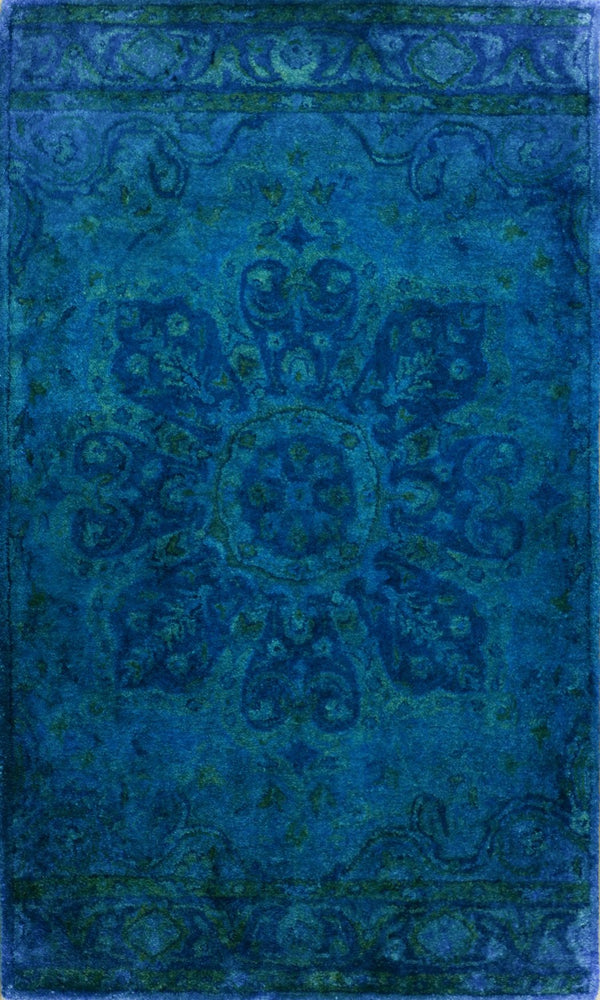 3x5 Blue Handmade Overdyed Wool Area Rug | TUF14 - The Rug Decor