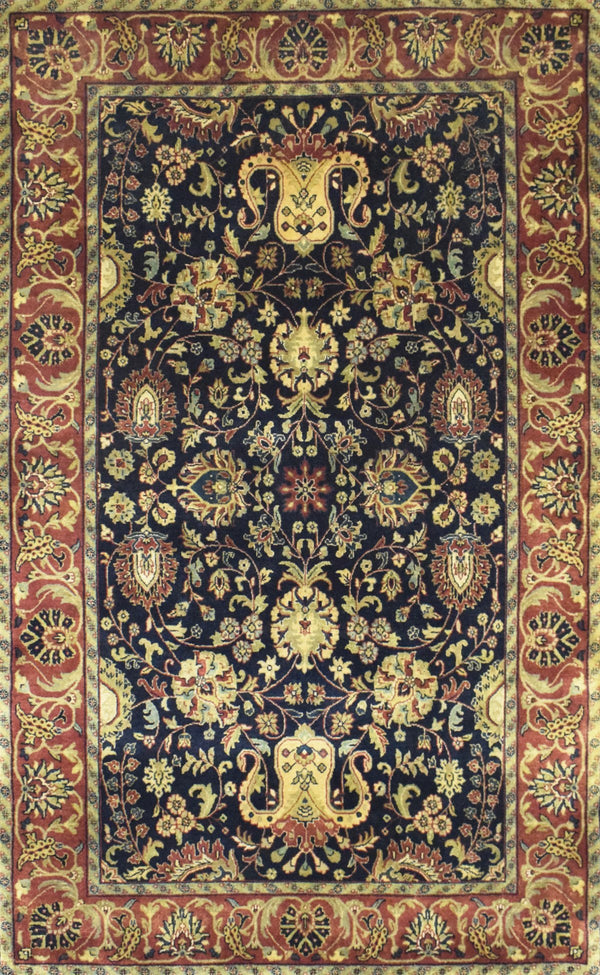 4x6 Fine Hand Knotted Area Rug | Mashad Design Made with Fine New Zealand Wool - The Rug Decor