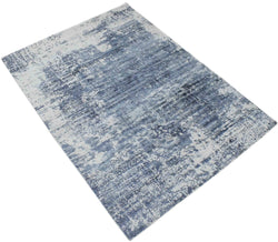 5.6x7.7 Rug, Abstract Blue and Gray Rug made with Viscose Art Silk - The Rug Decor