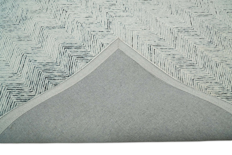 5x8 and 8x10 Hand Made Woolen Modern Blue and Ivory Area Rug | EVE001 - The Rug Decor