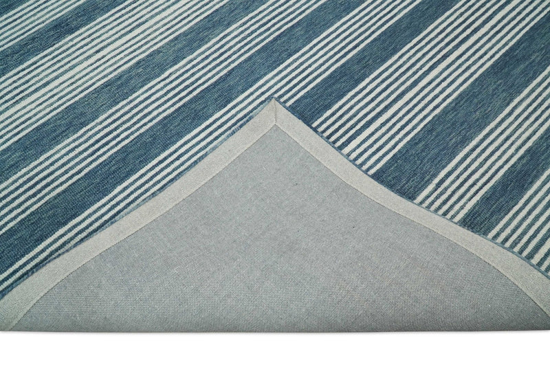 5x8 and 8x10 Hand Made Woolen Modern Stripes White and Blue Area Rug | NAU002 - The Rug Decor