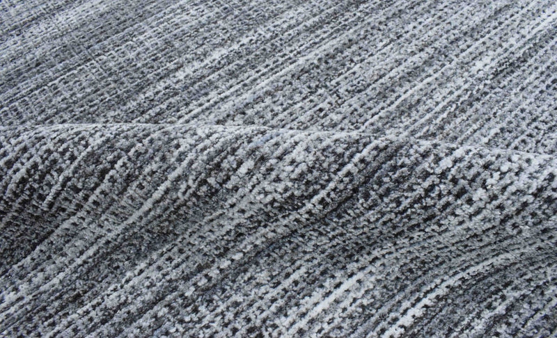 5x8 Blue and Silver Handmade Area Rug Made With Fine Wool and Viscose - The Rug Decor