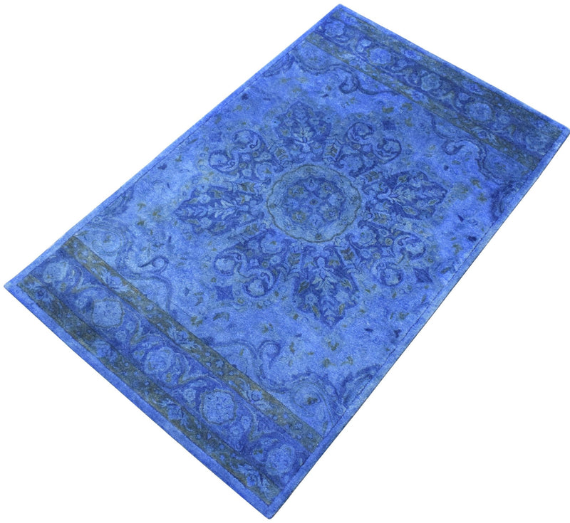 5x8 Blue Handmade Overdyed Wool Area Rug | TUF10 - The Rug Decor