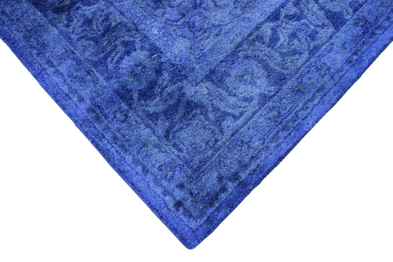 5x8 Blue Wool Area Rug | Handmade Area rug made with fine wool Overdyed Rug | Bedroom Rug, Blue Rug, Living Room Rug, Classic Style Rug - The Rug Decor