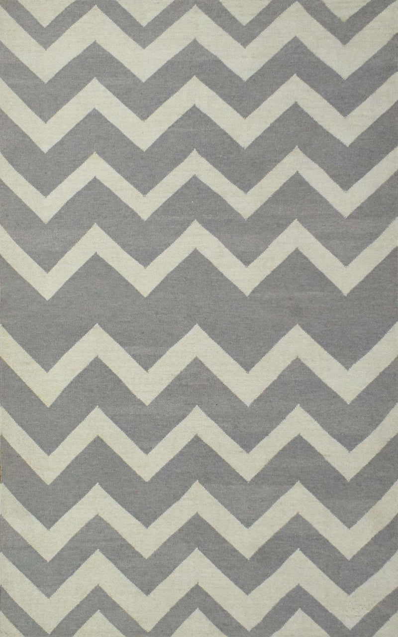 5x8 Dhurrie Rug,Grey and White Chevron Pattern Rug , Living, Dinning and Bedroom Rug | TRDDUR558 - The Rug Decor