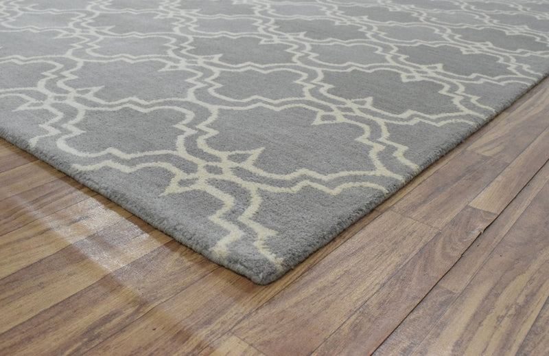 5x8 Gray and Beige Wool Area Rug | Handmade Area rug made with fine wool - The Rug Decor