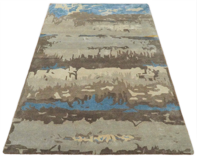 5x8 Modern Abstract Handmade Brown and Blue fine Wool art silk Area Rug - The Rug Decor