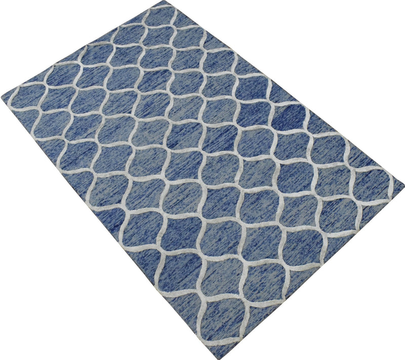 5x8 Modern Blue Handmade Area Rug - The Rug Decor