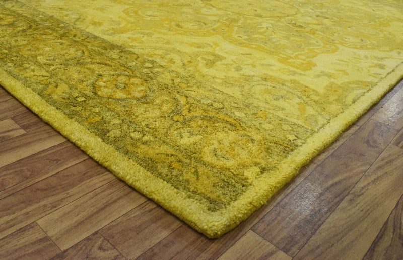 5x8 Wool Area Rug | Handmade Area rug made with fine wool and Overdyed | Bedroom Rug, Gold Overdyed Rug, Living Room Rug, Classic Style Rug - The Rug Decor