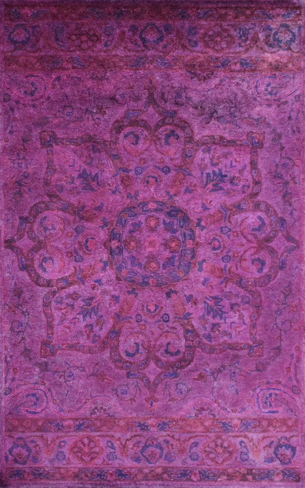 5x8 Wool Area Rug | Handmade Area rug made with fine wool Overdyed | Bedroom Rug, Pink and Blue Color, Living Room Rug, Classic Style - The Rug Decor