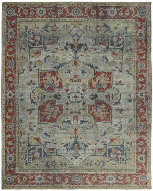 8x10 Hand Knotted Serapi Silver and Rust Traditional Antique Area Rug | TRD2401 - The Rug Decor