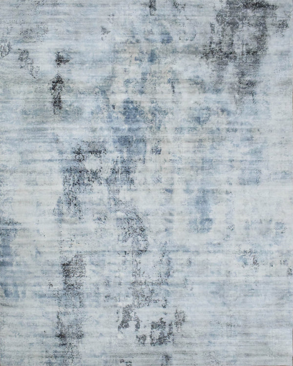 8x10 Rug, Abstract Blue and Gray Rug made with Viscose Art Silk, Living, Dinning and Bedroom Rug | TRD0093AR810 - The Rug Decor