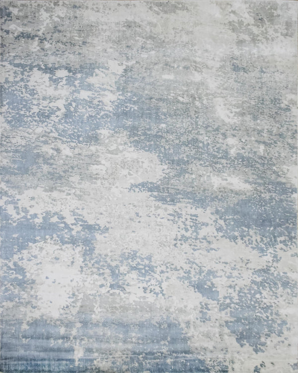8x10 Rug, Abstract Blue and Ivory Rug made with Viscose Art Silk, Living, Dinning and Bedroom Rug | TRD006QT810 - The Rug Decor