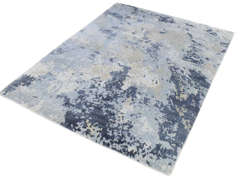 8x10 Rug, Abstract Blue and Ivory Rug made with Viscose Art Silk, Living, Dinning and Bedroom Rug | TRD019QT810 - The Rug Decor