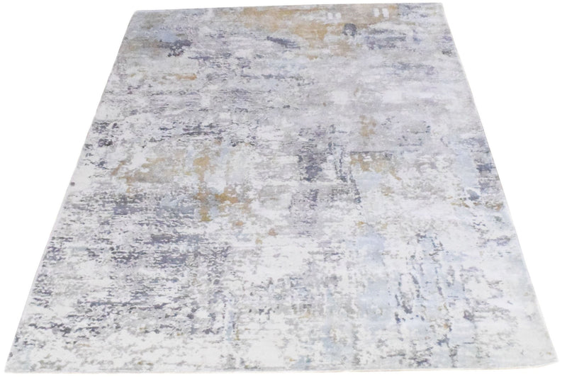 8x10 Rug, Abstract Blue and Ivory Rug made with Viscose Art Silk, Living, Dinning and Bedroom Rug | TRD030OP - The Rug Decor