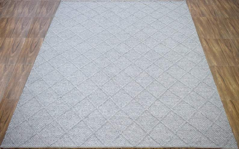 8x10 Rug | Flat Weave Modern handmade Gray Area Rug - The Rug Decor