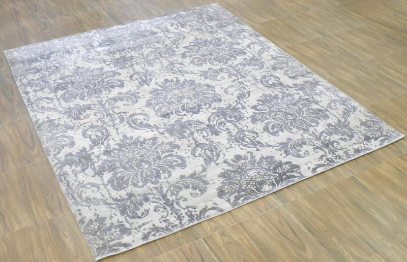 8x10 Rug, Floral Gray Rug, White Rug, Viscose Rug, Living, Dinning and Bedroom Rug, Modern Handmade Wool & Viscose Area Rug | TRD0017QT810 - The Rug Decor