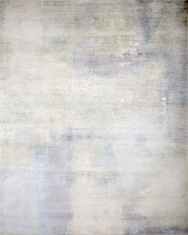 8x10 Rug | Modern Abstract Handmade with Bamboo Silk Blue Area Rug | TRD1750810 - The Rug Decor