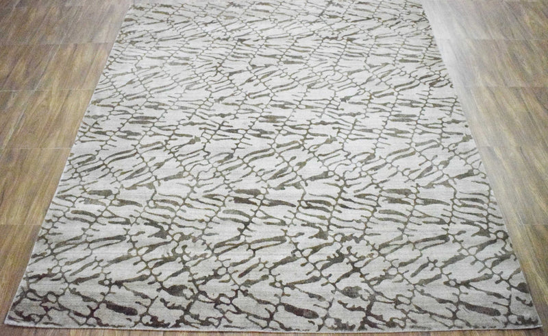 8x10 Rug, White and Brown Rug, Modern and Abstract Rug, Hand-loom Printed Viscose Area Rug | TRD020QT810 - The Rug Decor