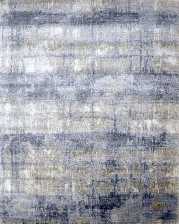 Modern Luxury Handknotted Blue and Silver Silk Area Rug 8x10 | TRD1856810 | The Rug Decor