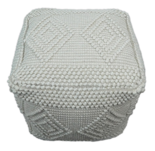 Handmade Pouf - Comfortable Chair or Footrest - White  | TRD101