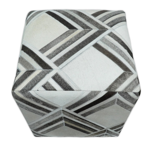 Handmade  Leather Pouf- Comfortable Chair or Footrest - Ivory Grey | TRD284