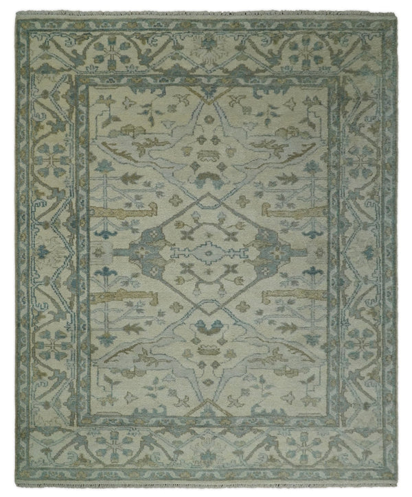 Antique 8x10 Vintage Oriental Traditional Ivory and Blue Wool Area Rug | TRDCP102810 - The Rug Decor