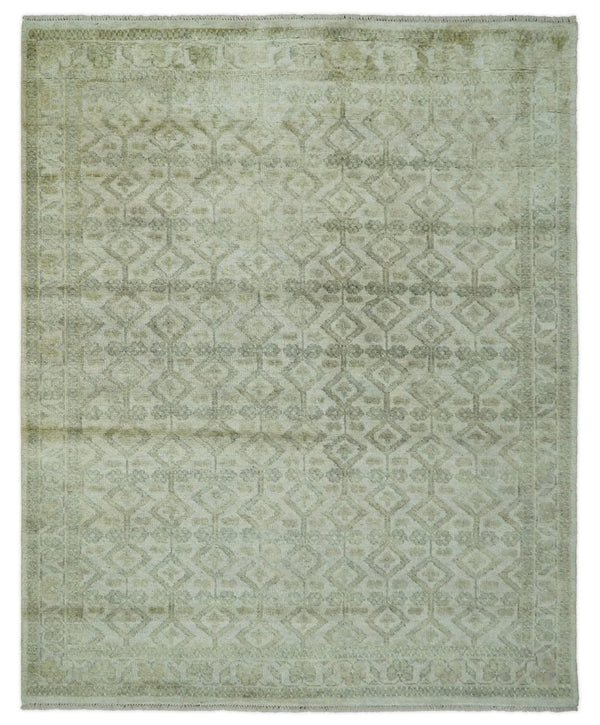 Antique Dusty 8x10 Vintage Oriental Traditional Beige and Gray Wool Area Rug | TRDCP90810 - The Rug Decor