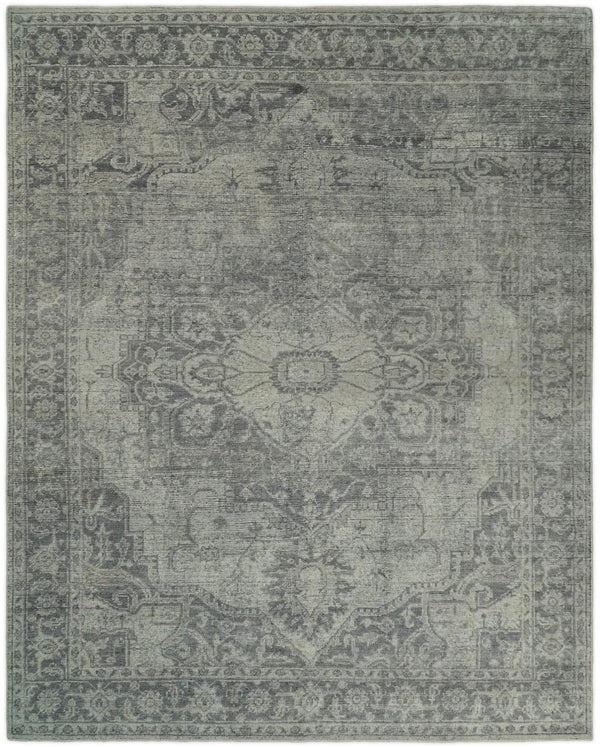 Antique Hand Knotted 8x10 Beige and Gray Traditional Medallion Area Rug | TRD2397 - The Rug Decor
