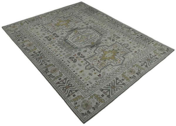 Antique Hand Knotted 8x10 Gray and Silver Traditional Medallion Area Rug | TRD2388 - The Rug Decor