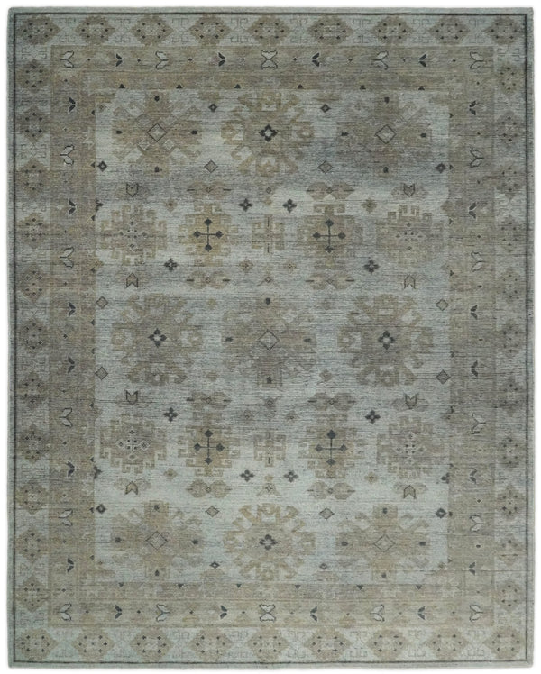 Antique Moss 8x10 Brown and Silver Traditional Persian Area Rug | TRD2274 - The Rug Decor