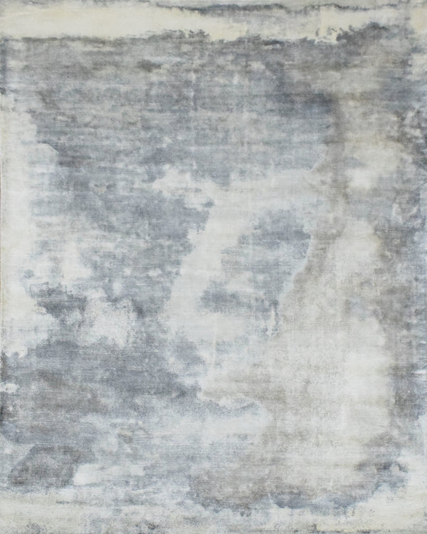 Gray, Brown and Ivory Handmade Area Rug Made With Fine Viscose - The Rug Decor