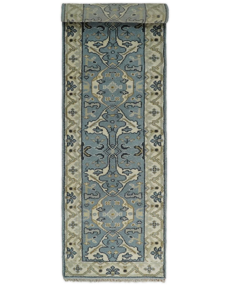 Hand Knotted 10 feet Runner Oriental Oushak Blue and Beige Wool Area Rug | TRDCP382910 - The Rug Decor