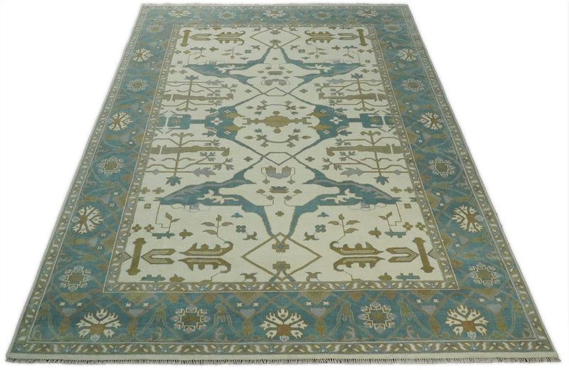 Hand Knotted 10x14 Large Persian Oushak Ivory and Blue Wool Area Rug | TRDCP711014 - The Rug Decor