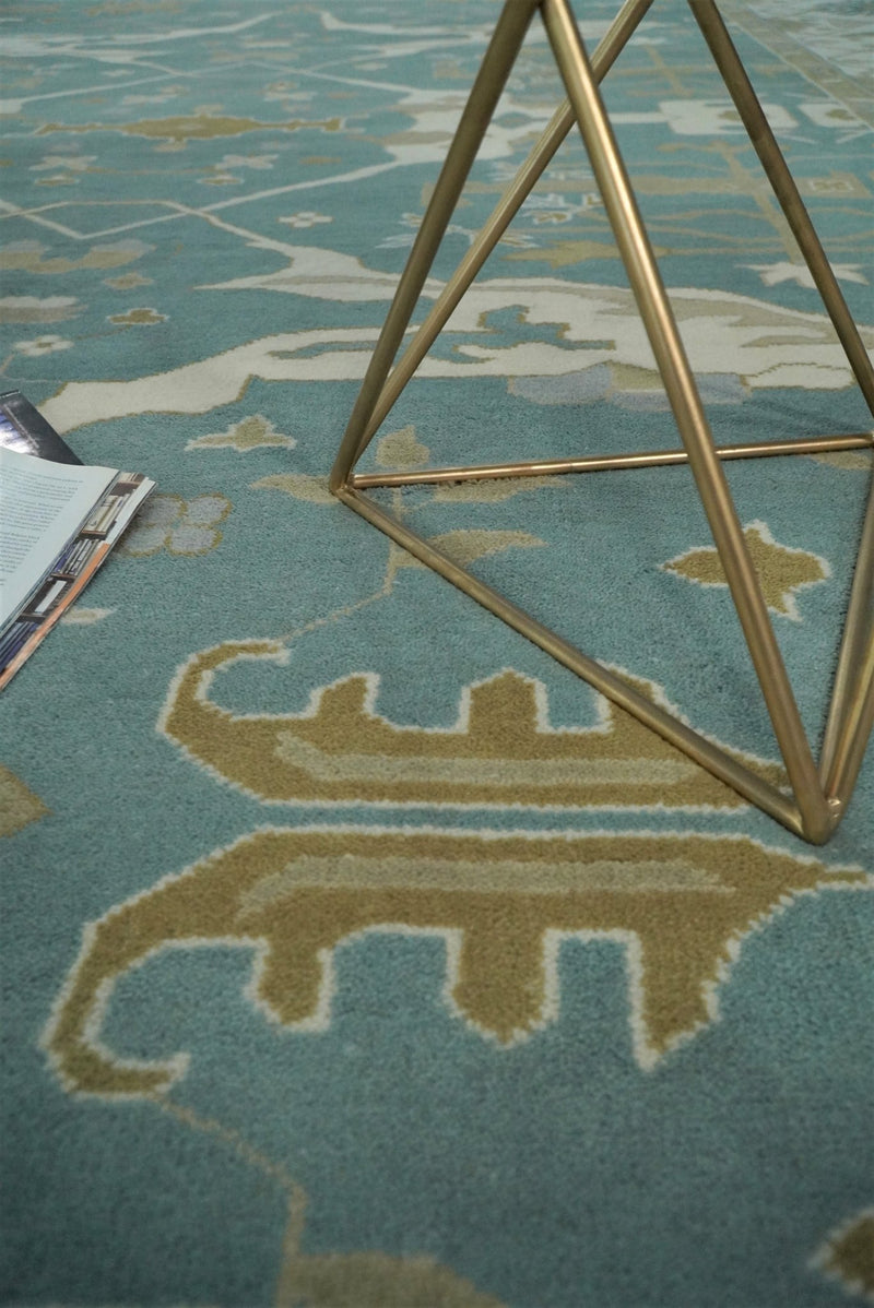 Hand Knotted 10x14 Oushak Blue and Ivory Wool Large Area Rug | TRDCP721014 - The Rug Decor