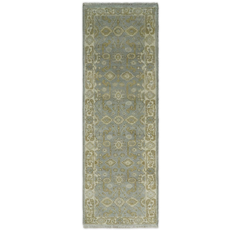 Hand Knotted 8 feet Runner Light Blue and Ivory Wool Area Rug | TRDCP59268 - The Rug Decor