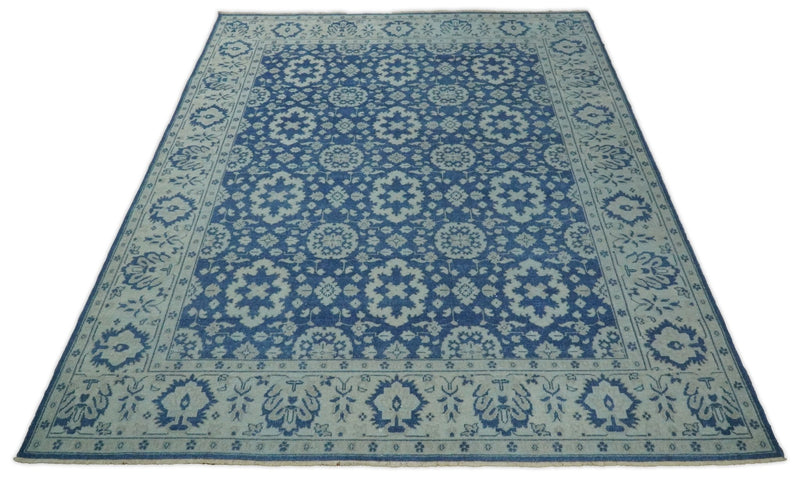 Hand knotted 8x10 Persian Luxury Blue and Beige Wool Area Rug | TRD1980810 - The Rug Decor