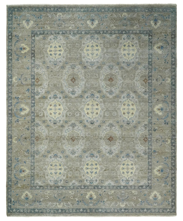 Hand Knotted 8x10 Traditional Oxidized Textured Low Pile Wool Rug | TRD2045810 - The Rug Decor
