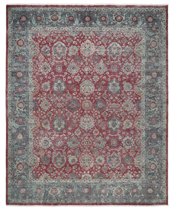 Hand Knotted 8x10 Traditional Oxidized Textured Low Pile Wool Rug | TRD2122810 - The Rug Decor