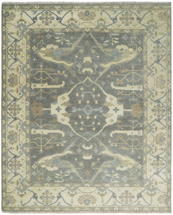Hand Knotted 8x10 Vintage Oriental Oushak Charcoal and Beige Wool Area Rug | TRDCP83810 - The Rug Decor