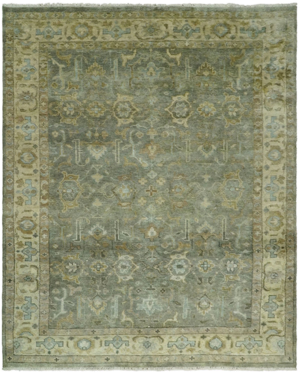 Hand Knotted 8x10 Vintage Oriental Oushak Gray and Beige Wool Area Rug | TRDCP21810 - The Rug Decor